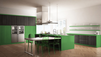 Minimalistic modern kitchen with table, chairs and parquet floor, gray and green interior design