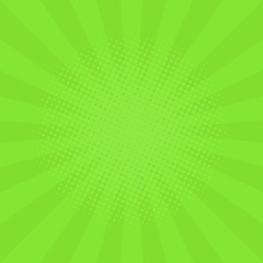 Abstract background with cartoon rays of green color. Template for your projects. The cartoon sun. Halftone effect. Flat style