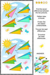 Visual puzzle: Find the seven differences between the two pictures of colorful paper planes flying in the air. Answer included.