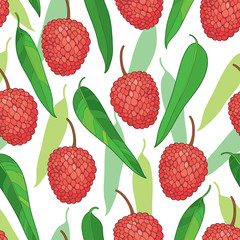 Vector seamless pattern with outline red Chinese Lychee or Litchi fruit and green leaf on the white background. Fruit pattern with subtropical plant in contour style for exotic summer design.
