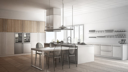 Unfinished project of minimalistic modern kitchen with table, chairs and parquet floor, sketch abstract interior design
