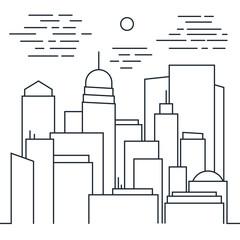 Stylish modern Cityscape in Line art style