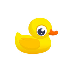 Rubber Duck Toy. Minimalistic Flat Color Icon. Pictogram Symbol. Cartoon ducky vector illustration