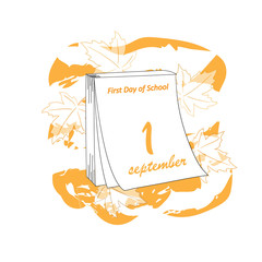 September 1 on a piece of tear-off calendar. The first day of school. Sketch of the hand. Vector illustration.