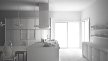 Total white project of minimalistic modern kitchen with table, chairs and parquet floor, minimalist interior design