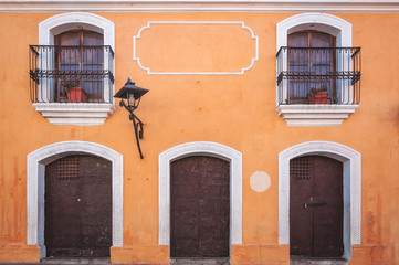 Colorful Facade of a Heritage building in historic center of Antigua, Guatemala.