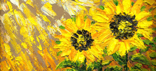 Abstract painting. Bright sunflowers on the field