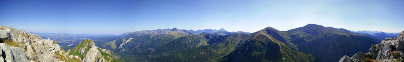 Panorama from Giewont on Kasprowy Wierch and Kondracka Kopa in Tatra Mountains in Poland during lovely weather