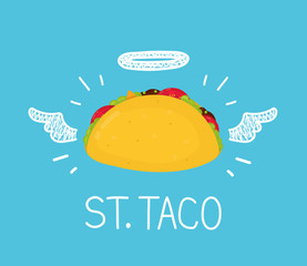 "Heaven taco concept ""St. Taco"" with angel halo and wings. Flat and doodle vector illustration cartoon icon. Mexico cafe,  tasty meal, delivery, mexican fast food concept design"