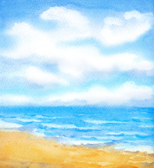 Watercolor background. White clouds in the blue sky over ocean surf