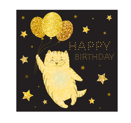 Square greeting card with golden cat with balloons and golden lettering happy birthday on black background - vector Illustration