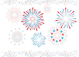 Vector Fireworks bright confetti border. Festive decoration banner red blue color. American Holiday, Memorial day, Labor Day. Festival decorative frame, elements white background.