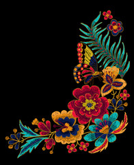 Butterfly with flowers vector embroidery.