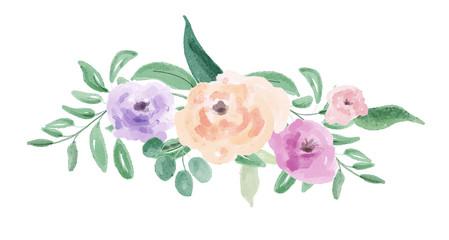 Watercolor flower arrangement. Digital painting.