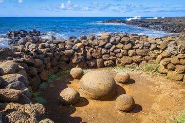Magnetic stones, ahu Te Pito Kura, easter island