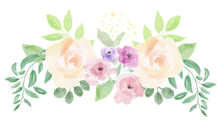 Watercolor flower arrangement. Digital painting.