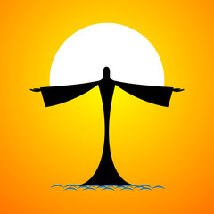 Silhouette of man on water resembling Jesus