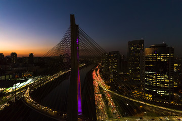 Aerial View of Estaiada Bridge in a Beautiful Evening Hour in Sao Paulo, Brazil