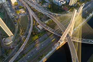 Top View of Estaiada Bridge in Sao Paulo, Brazil