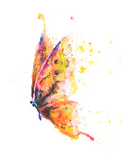 Beautifully hand painted butterfly with colourful yellow, pink, blue and orange wings