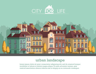 European city with historical buildings. Traditional architecture landscape. Flat vector illustration. 3d style.
