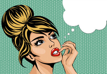 Pop art vintage comic style woman with open eyes dreaming, female portrait with speech bubble vector