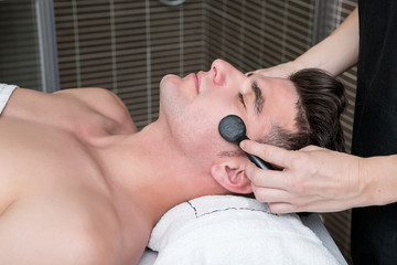 Man at spa procedures