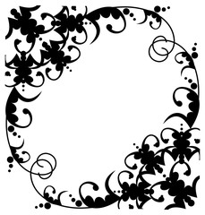 Black and white silhouette frame with decorative flowers. Vector clip art.