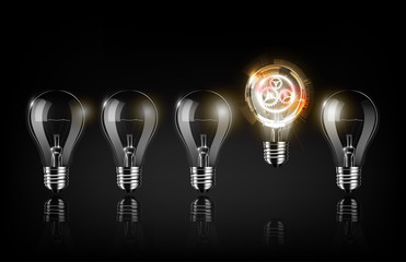 Glowing abstract futuristic light bulb is among a lot of turned off light bulbs on black background , concept idea , Vector illustration