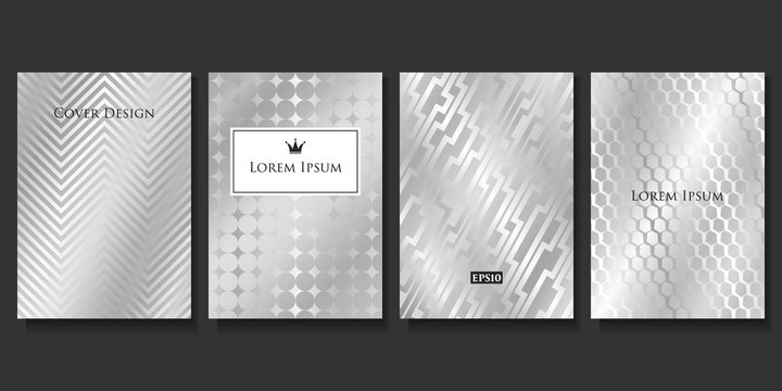 Set of Vector Geometric Silver Templates. Applicable for Brochures, Banners, Party Invitations, Posters and Fliers.