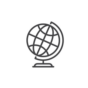 Desktop world earth globe line icon, outline vector sign, linear style pictogram isolated on white. Symbol, logo illustration. Editable stroke. Pixel perfect graphics