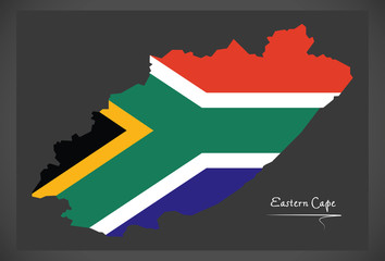 Eastern Cape South Africa map with national flag illustration