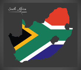 South Africa map with national flag illustration