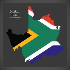 Northern Cape South Africa map with national flag illustration