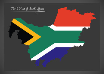 North West South Africa map with national flag illustration