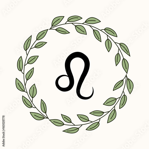 Hand Drawing Flat Leo Symbol In Rustic Floral Wreath Stock Image