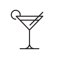 Cocktail line icon, outline vector sign, linear style pictogram isolated on white. Martini symbol, logo illustration. Editable stroke. Pixel perfect graphics