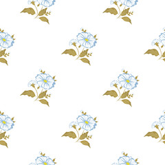 Seamless floral pattern. Background in small blue flowers on a light background for textiles, fabric, cotton fabric, covers, wallpaper, print, gift wrap, postcard.