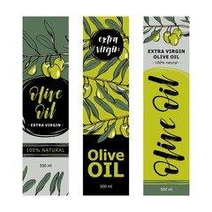 Olive oil labels collection. Hand drawn vector illustration templates for olive oil packaging.
