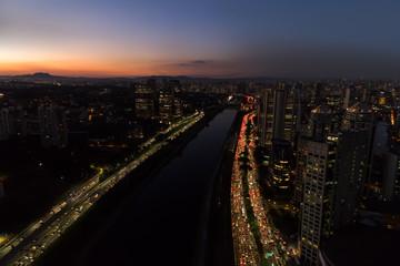 Traffic Jam in Marginal Pinheiros in Sao Paulo, Brazil