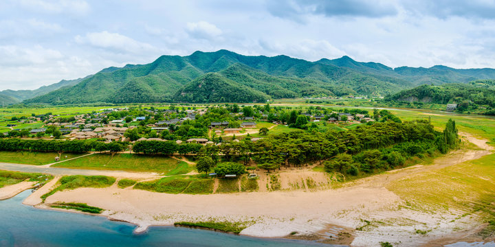 Panoramic view of Andong, Hahoe Village in South Korea. (Hahoe village in South Korea is UNESCO world heritage site.)