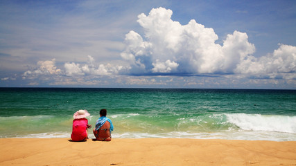 Friends together at Karon beach, Phuket