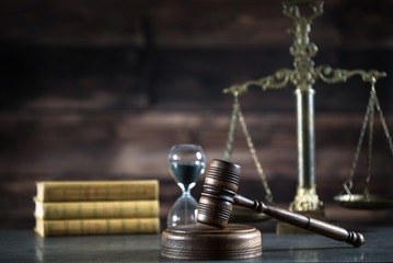 Law Concept on wooden background