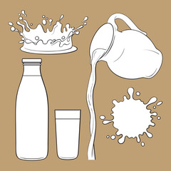 Splashing and pouring liquid, jug, glass, sketch vector illustration isolated on brown background. Hand drawn glass, bottle with liquid and pouring from jug