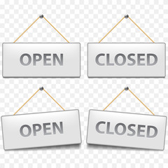 Open closed signs isolated on white vector