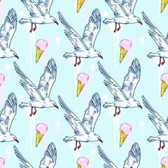 Seabirds. Set of beautiful seagulls and icecream