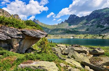 Glacial lake in Siberian mountains