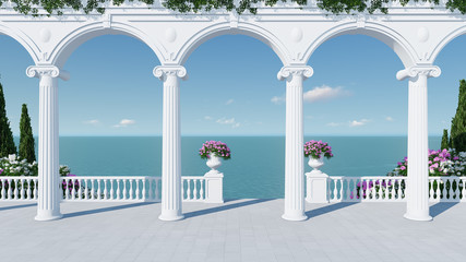 3d render from imagine wedding backdrop classic in Italy tropical