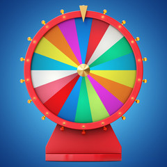 Realistic spinning fortune wheel, lucky roulette. Colorful wheel of luck or fortune. Wheel fortune isolated on blue tint background, 3d illustration