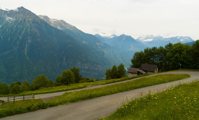 A narrow road in the Swiss mountains.